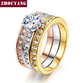Top Quality 3pcs mix Colors CZ Wedding Ring set  Rose Gold Plated Classical Elgant Jewelry R107