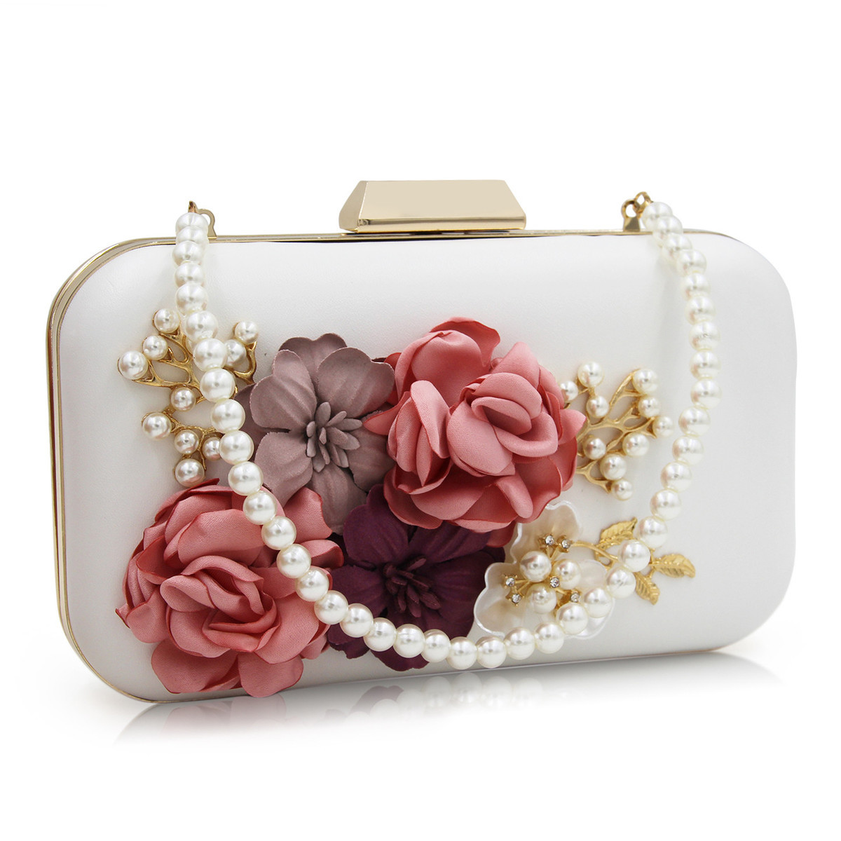 bc47be7cf385 Milisente Women Floral Bags with Pearl Chain Handmade Flower ...