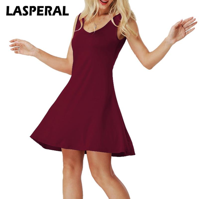 LASPERAL Women Sleeveless Dress 2018 New Sexy V Neck Vestido Bodycon dress Fashion Solid Mini Dress Ladies Plus Size 5XL~S