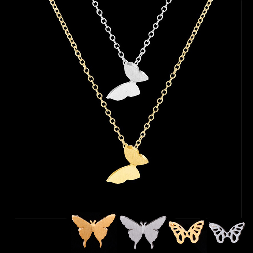 GORGEOUS TALE Stainless Steel Chain Gold Butterfly Pendants Chokers Necklaces for Women Necklace Maxi Collier Bridesmaid Gift