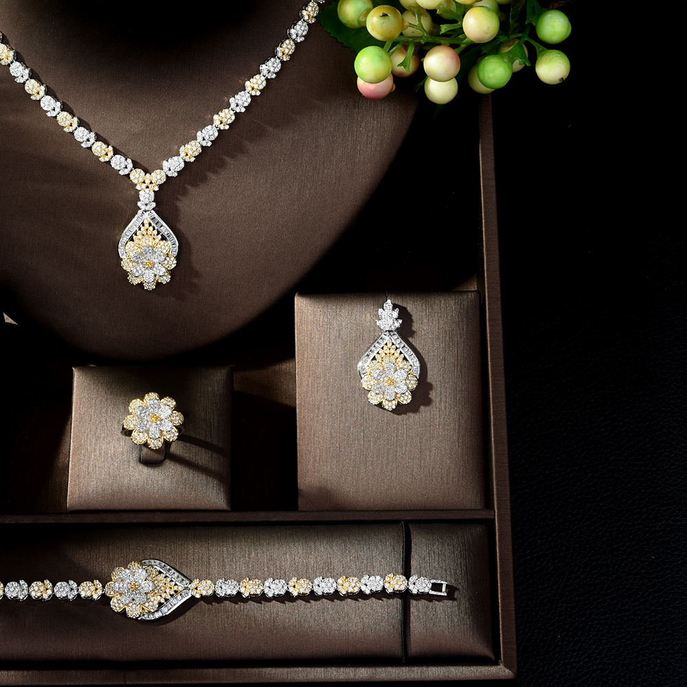 HIBRIDE Exclusive Dubai Gold Plate Jewellery Luxury Cubic Zirconia Necklace Earring Bracelet Party Jewelry Set for Women N-135