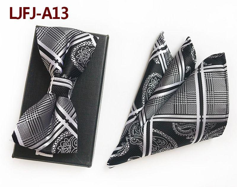 Мужской модный галстук набор полиэфирных шелковых галстуков наборы из двух частей жаккардовые галстуки для мужчин галстук носовой платок галстук-бабочка - Цвет: LJFJ-A13