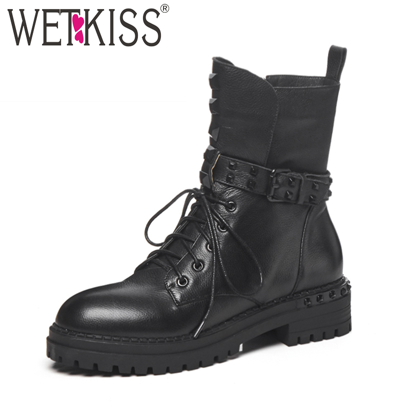 WETKISS Thick Heels Women Army Ankle Boots Cross Tied Round Toe Footwear Motorcycle Female Punk Boot Platform Shoes Woman Winter цена