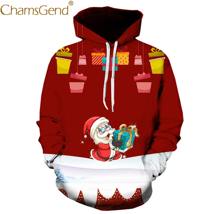 Christmas Santa Claus Cartoon Print Men Hoodies Sweatshirts Winter Red Pullover Coat 80912