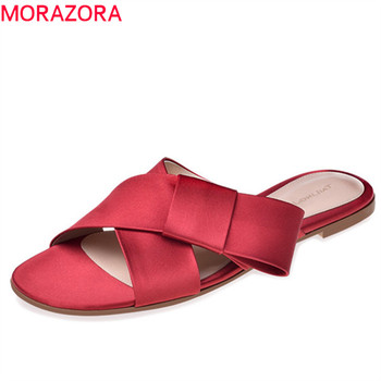 MORAZORA 2019 new arrival women slipper top quality summer shoes bowknot elegant simple ladies shoes outside casual shoes woman