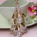 Free Shipping 2014 New Arrive Fashion Crystal bead car keychain tassel male women's Bag Charm  key chain Ring gift