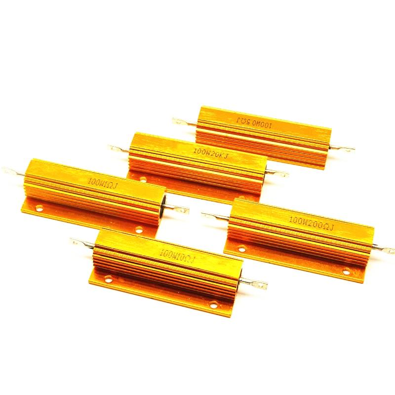RX24 100W Power Watt Metal Housing Aluminum Resistance0.1R 0.2R 0.5R 1R 2R 3R 4R 5R 8R 10R 20R 50R 100R 200R 500R Resistance