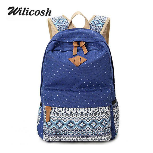 Wilicosh Vintage Girl School Bags For Teenagers Cute Dot Printing Canvas Women Backpack Mochila Casual Bag School Backpack WL022