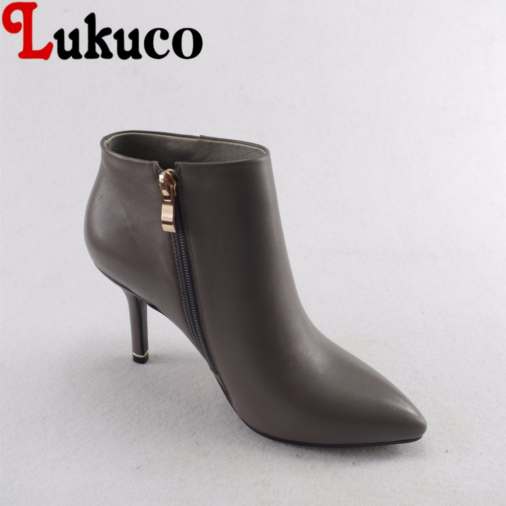 Lukuco pure color women pointed toe fashion boots microfiber made high thin heel zip shoes with short plush inside lukuco pure color women mid calf boots microfiber made buckle design low hoof heel zip shoes with short plush inside