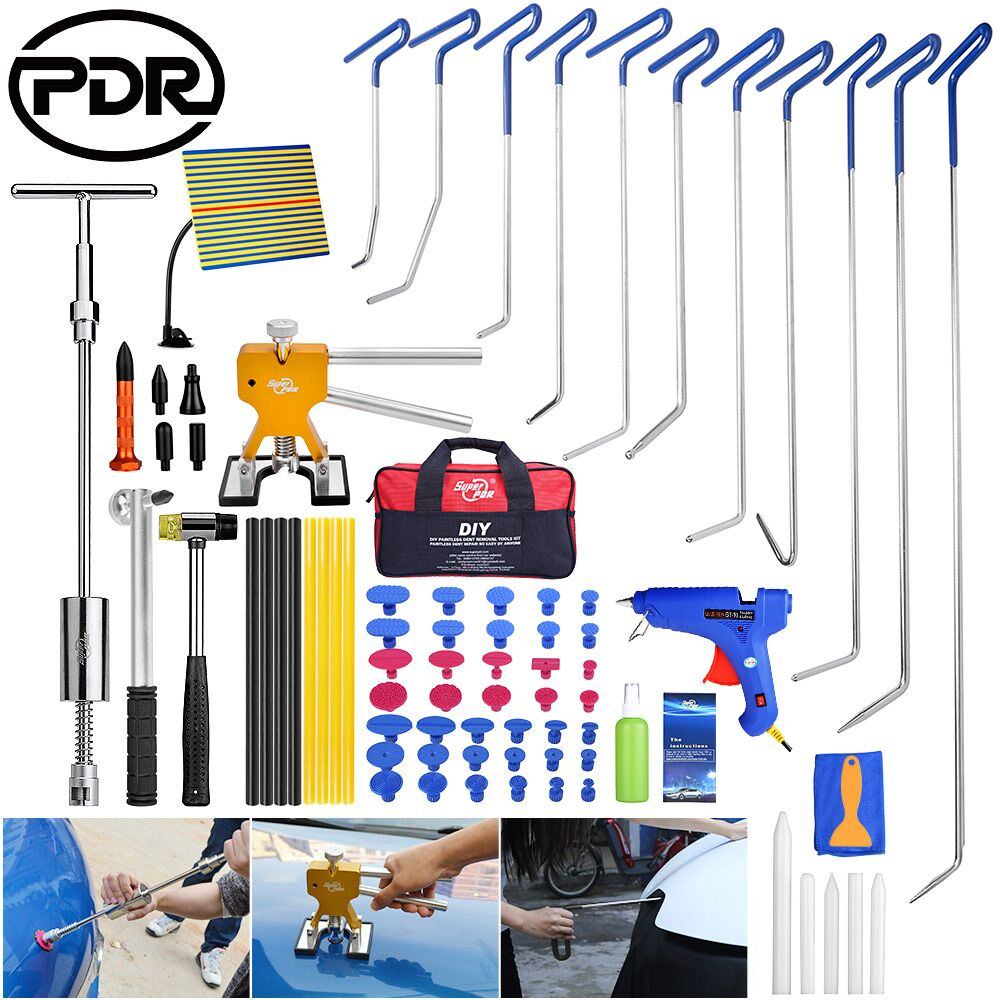 PDR Hooks Tools To Remove Dent Auto Repair Door Dings Repair Reverse Hammer Lifter Suction Cups For Dents Glue Gun Adhesive Tool