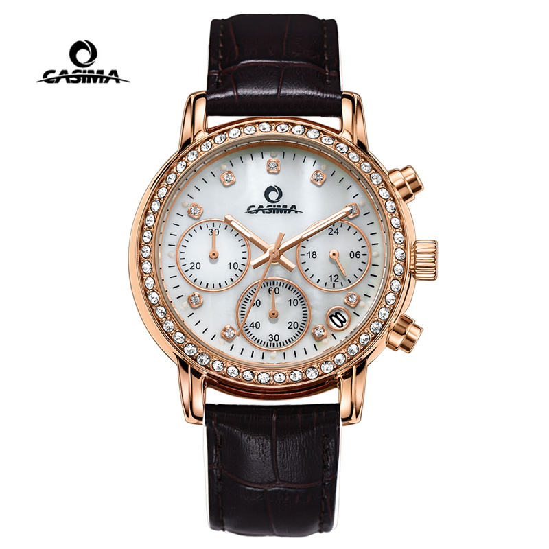 CASIMA Brand Gold Ladies Watch Women Fashion Beauty Crystal Table Leather Quartz Wrist Watch Clock Waterproof Relogio Feminino casima women watches waterproof fashion ladies leather rhinestone gold quartz wrist watch clock woman 2018 saat relogio feminino