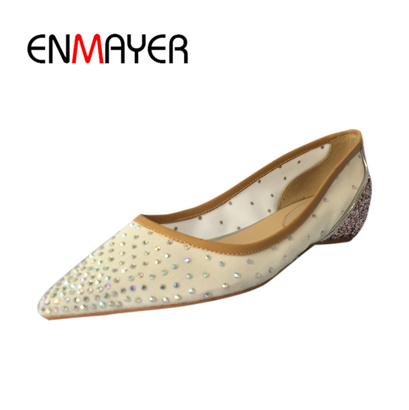 ENMAYER Pointed Toe Summer Shallow Flats Slip-on Luxury Brand Shoes Women Plus Size 35-46 Beige Black Flats Shoe Womens 2017 summer new fashion sexy lace ladies flats shoes womens pointed toe shallow flats shoes black slip on casual loafers t033109