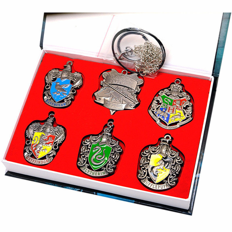 6pcs Harri Potter Hogwarts House Badge Gryffindor Slytherin Ravenclaw Hufflepuff Necklaces Keychains Keyrings Collection Set Box