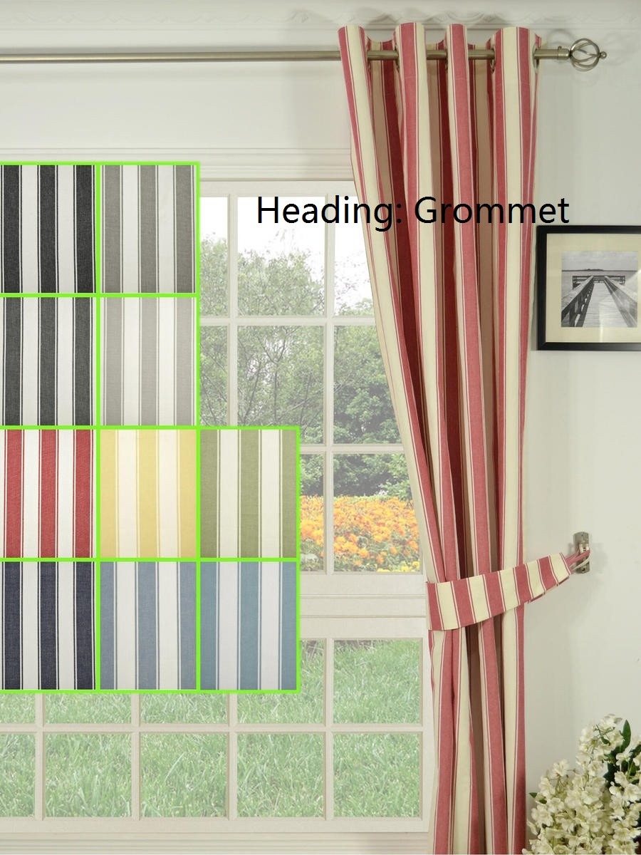 New Arrival Small Stripe 100 Cotton Grommet Ready Made Curtains Window Treatment Drapes Decoration In From Home Garden On Aliexpress