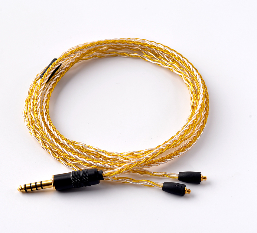 Hand Made DIY Updated 8 Cores 6N Gold Silver Mixed MMCX Headset Line 4.4mm Balanced Cable For SE525 SE535 SE846 UE900 LA DT2