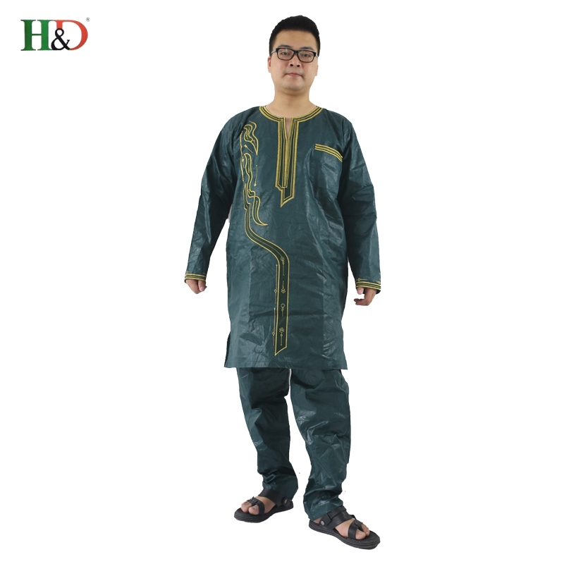 H&D (Besplatna dostava) Afrički čovjek modni dizajn Bazin Riche vez - Nacionalna odjeća - Foto 2