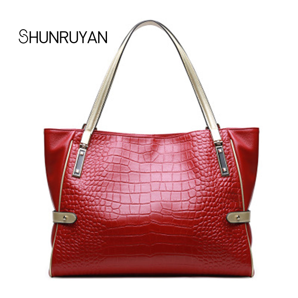 SHUNRUYAN Elegant Alligator Women for Bag Brand Design Genuine Leather Casual Tote Handbag Shopping Bag Shoulder Bags цена
