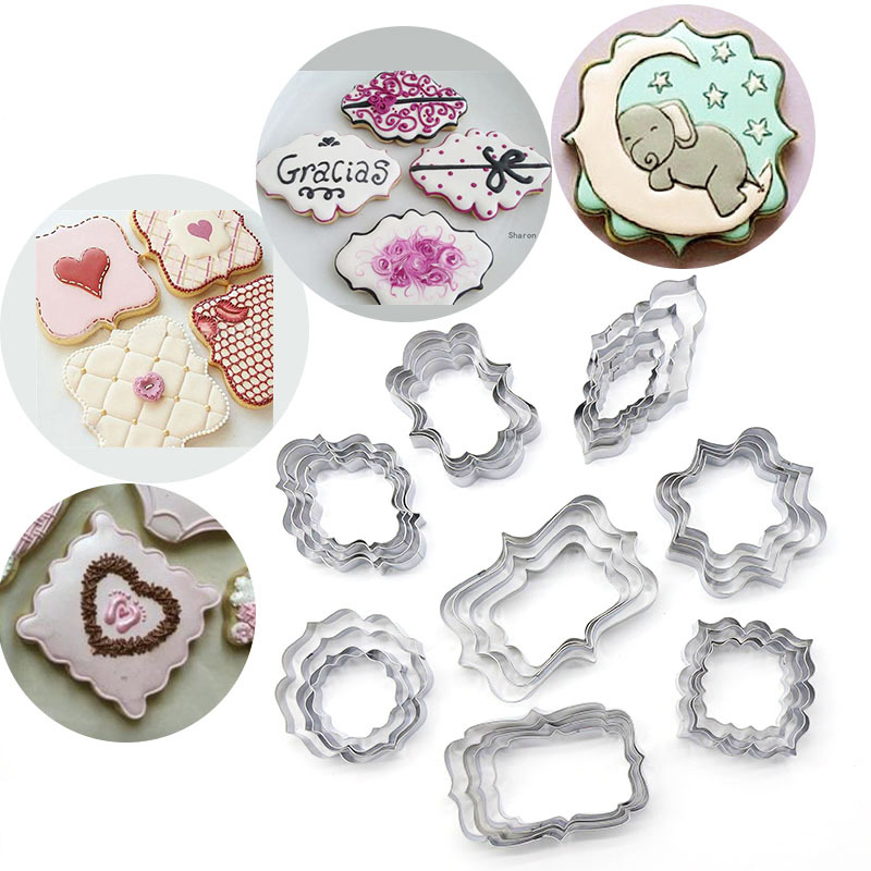 4Pcs/Set Stainless Steel Frame Cookie Cutters Biscuit Molds Lace Wedding Blessing Frame Cookie Moulds Decorating Tools(China)