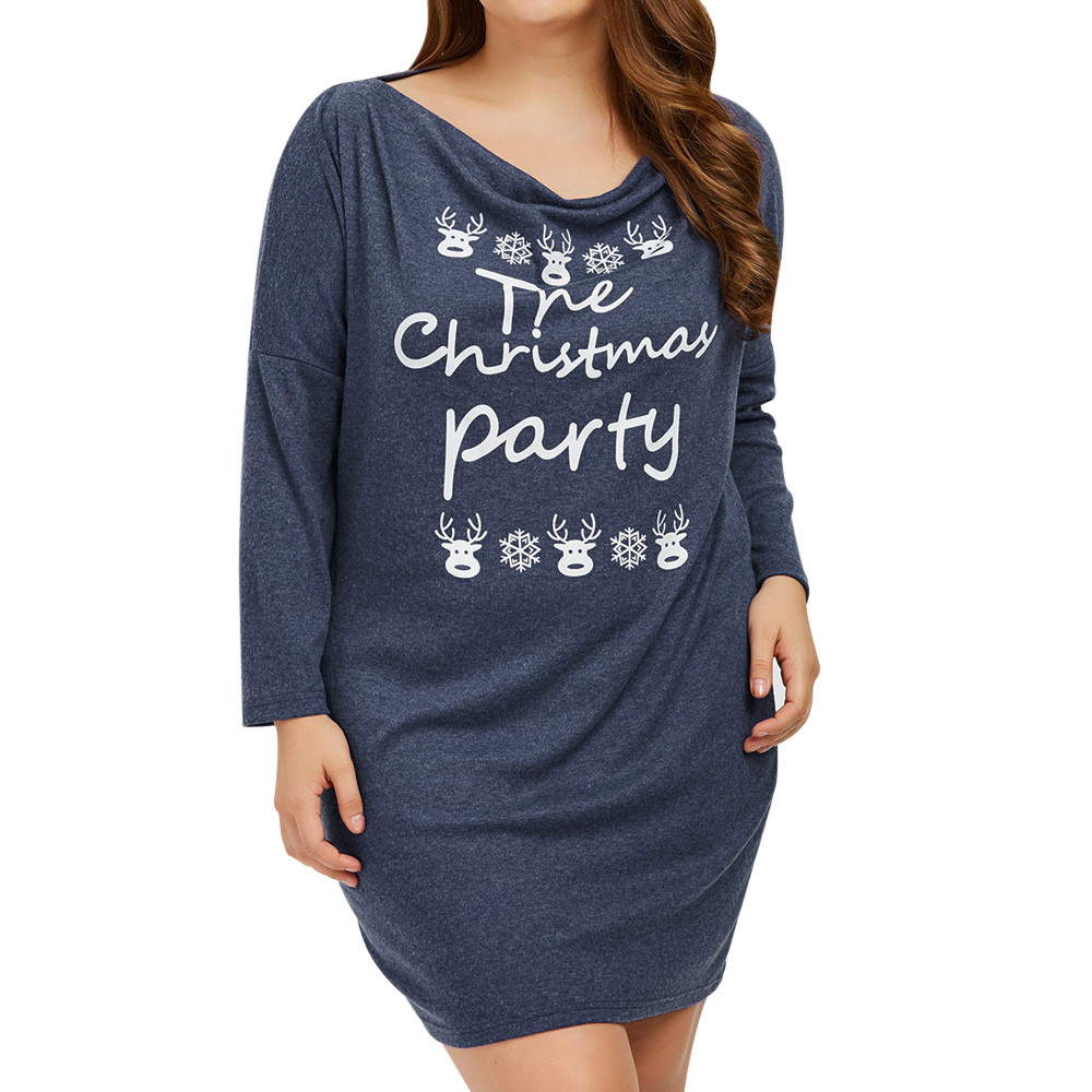 Autumn Casual Cute Long Sleeve Letter Print Dresses The Christmas Party Loose Plus Size Long T Shirts Dress Vestidos EY11