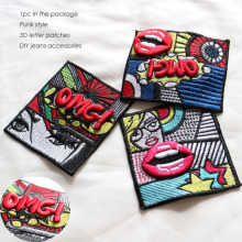 1pc 3D sexy mouth lips embroidery Patches for clothes Jean Jackets Punk cartoon OMG Sew on Badge patches appliques clothing