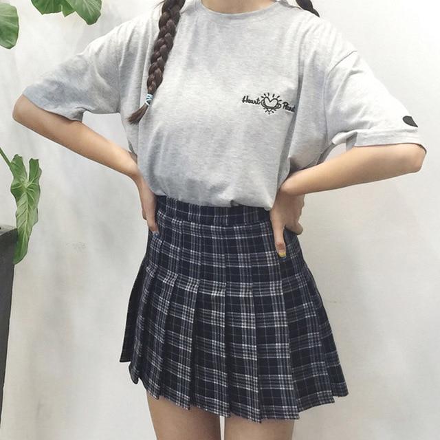 Весна осень женщины Harajuku Все Матч милый Институт ветер высокая талия решетки юбка в Складку Линии юбка для девочек
