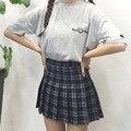 Primavera otoño mujeres Harajuku Todo-Fósforo lindo Instituto celosía viento de alta cintura falda Plisada Una Línea de falda para las niñas