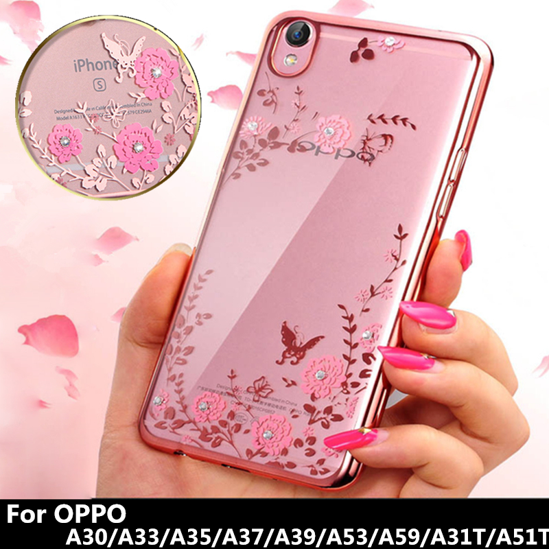 low priced 4364c 943c4 US $1.98 30% OFF|Luxury Diamond Case for A30 A33 A35 A37 A39 A59 A53 Flower  Pattern Soft PlatingTPU Back Cover Secret Garden series PhoneCase-in ...