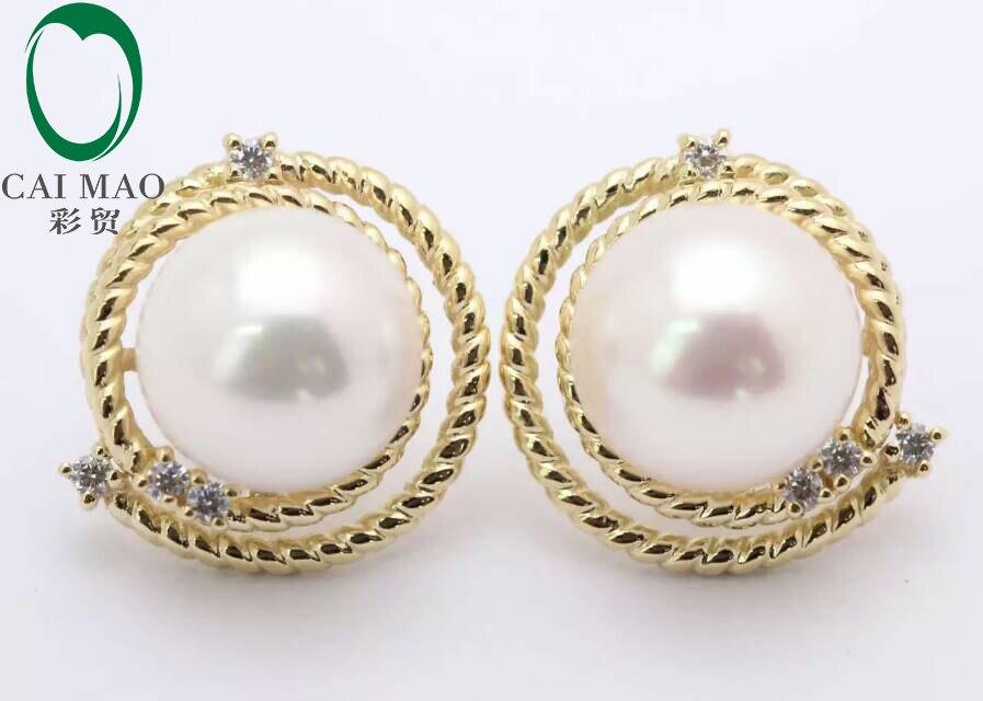 Ronde Mabe perle 14k or jaune nouveau classique fiançailles diamant Stud boucle d'oreille livraison gratuite pour la fête