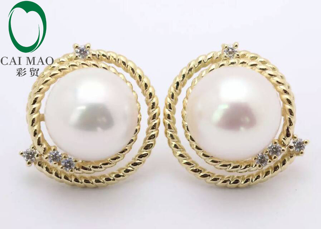 Round Mabe Pearl 14k Yellow Gold New Clic Engagement Diamond Stud Earring Free Shipping For Party