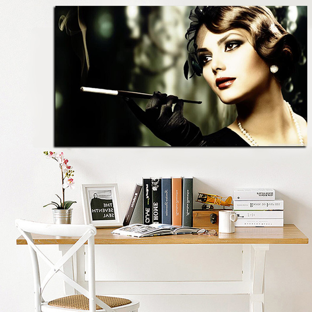 Audrey Hepburn Painting HD Print Girl Smokes Cigarette Woman on Canvas Pop Art Poster Wall Picture for Living Room Quadros Decor