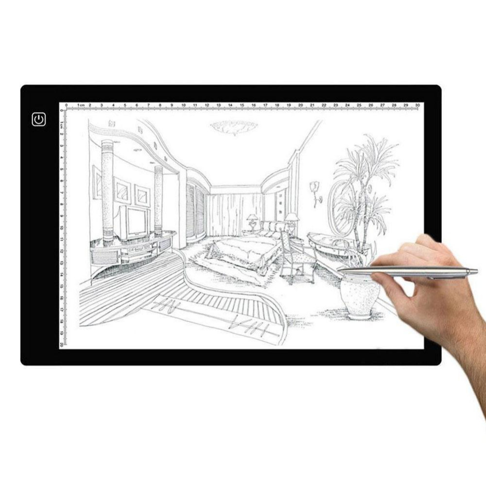 Amzdeal LED lumière A4 LCD écran planche à dessin Pochoir Art Copie Peinture Dessin Tablet Conseil Pad Table De Tatouage AU/L'UE/ROYAUME-UNI Plug