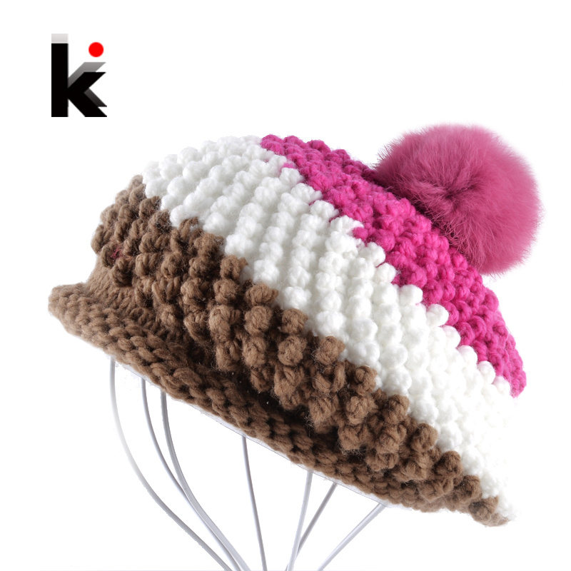 74a10c325bbe2 Rabbit Fur Pompom Beret Ladies Knit Winter Hat Hand-Knitted Boina ...