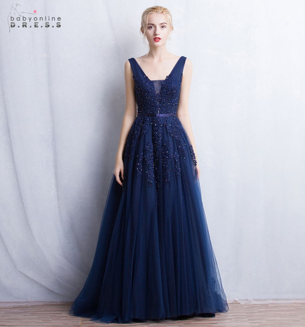 Buy in stock 2017 long navy blue prom for Wedding style prom dresses