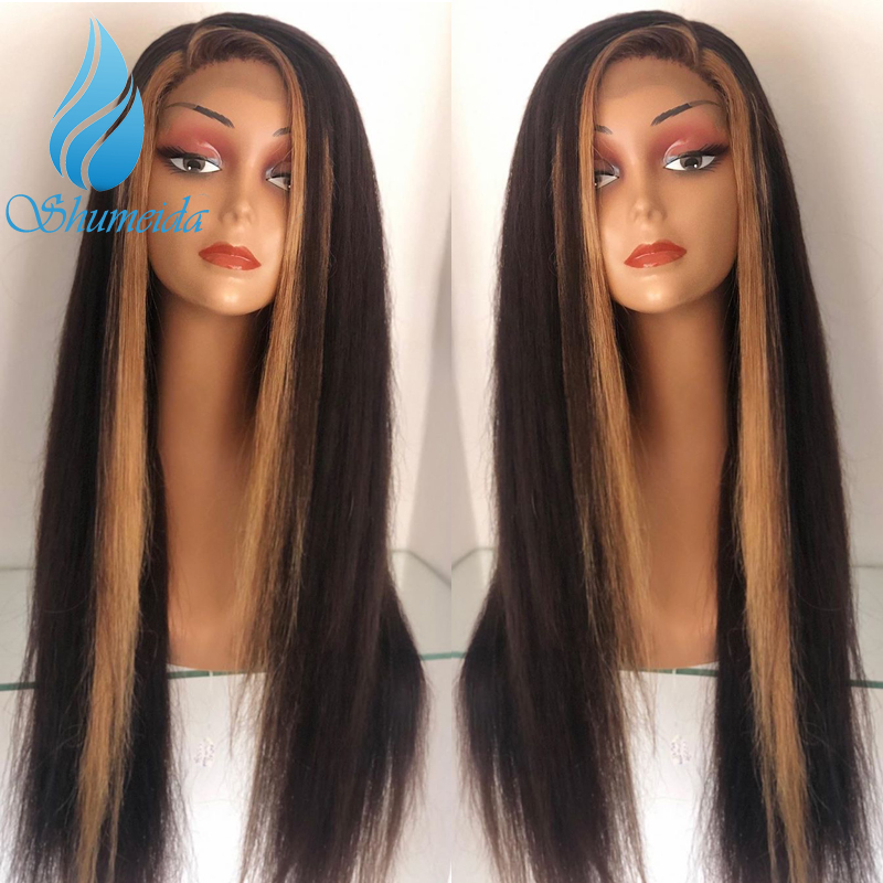 SHD Highlight Brown Color Lace Front Hair Wigs for Women Indian Remy Human Hair Wigs with