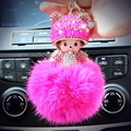 Hat Monchichi Key Chain Sleutelhanger Strass Keyring Fluffy Ribbit Fur Ball Pom Pom Women Bag Charm Porte Clef K002-fuchisa