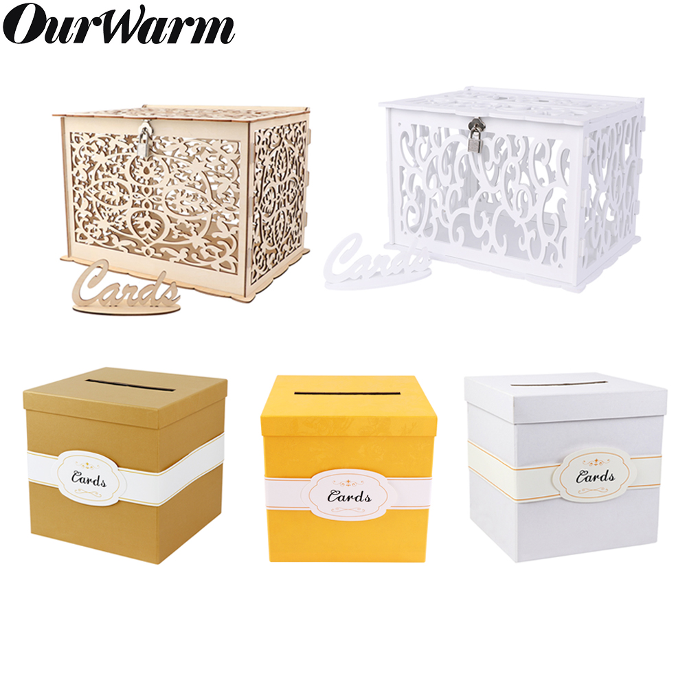 OurWarm DIY White Wedding Gift Card Box Wooden Gift Box PVC Money Box With Lock Baby Shower Birthday Party Wedding Decorations