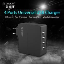 ORICO DCA-4U 4-Port Wall USB Phone Charger 5V2.4A*4 6A30W Total Output with Original Europe Plug-Black/White
