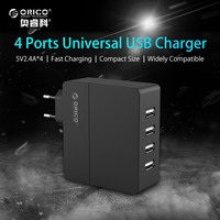 USB Phone Charger ORICO 4 Port Wall Charger 5V2.4A*4 34W Output for iPhone 7 Plus iPad Air 2 Mini 3 GalaxyNote Nexus and More