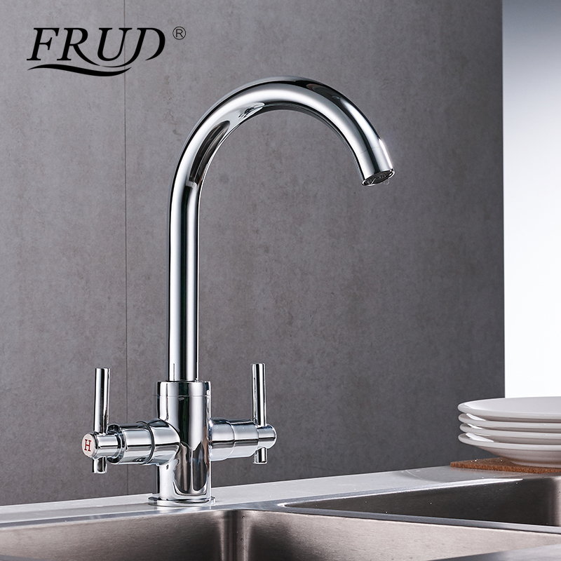 Frud Silver Kitchen Sink Faucet Hot And Cold Rotating Tap Kitchen Brass Faucet Two-handle Tap Ceramic Plate Spool Faucet Y40016 pull the kitchen faucet hot and cold all copper single handle double control rotary groove faucet faucet ceramic spool lu50511