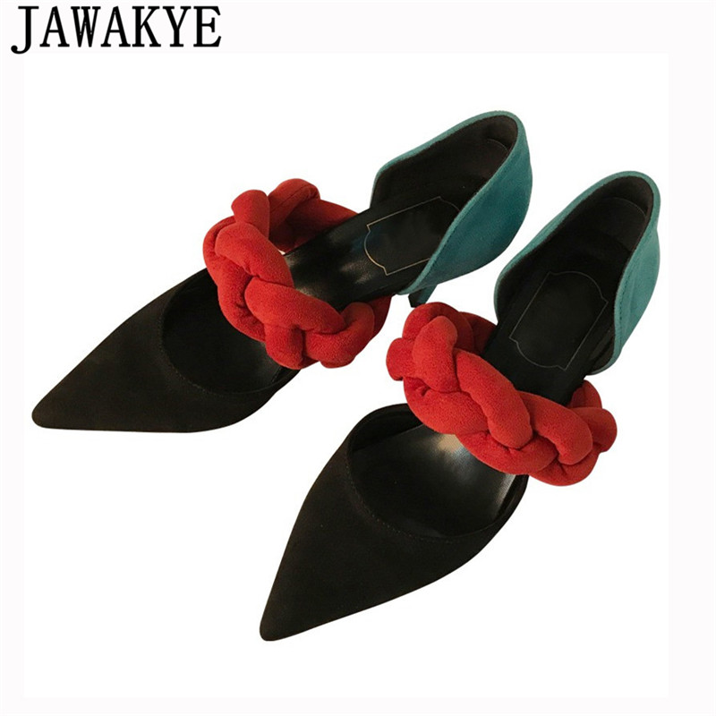 JAWAKYE runway style Pumps thin High Heels elegent Pointed Toe hemp flowers bandage patchwork Dress sandals