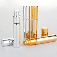 Hurtownie 100 części/partia 10 ML przenośne UV szkło butelka perfum wielokrotnego użytku z aluminiowym Atomizer puste przypadku dla podróżnika