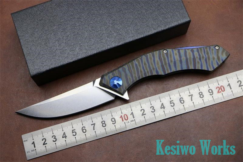 Kesiwo folding hunting font b knife b font titanium handle 59HRC D2 Blade camping outdoors survival