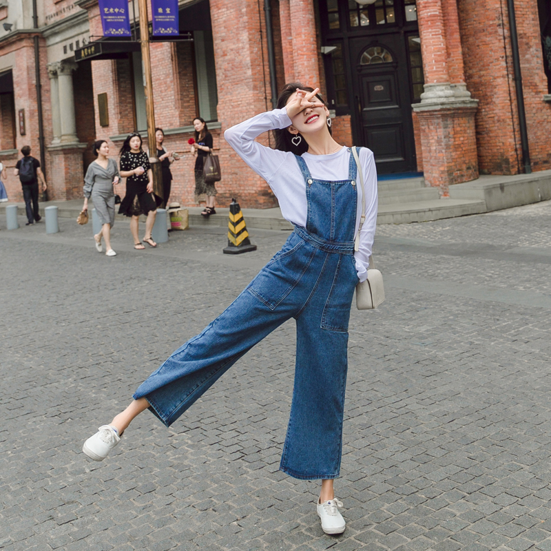 Fashion Korean Version of the Bib Pants Trend Women Denim Jumpsuits Casual Overalls Female Size S-XL
