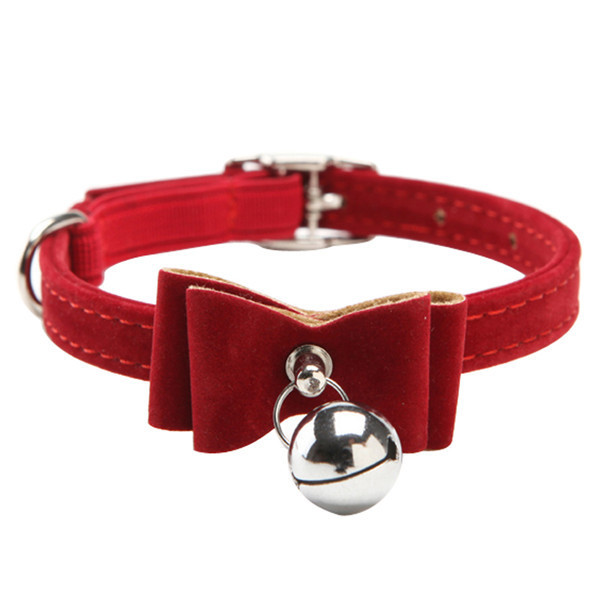 Cute small pet dog collar pet collar with bell attaching bowtie for puppy cat collar Soft Pu leather adjustable size
