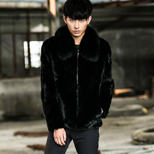 CR099 men's  winter real one fur coat natural mink fur coats jackets with genuine fox fur collar