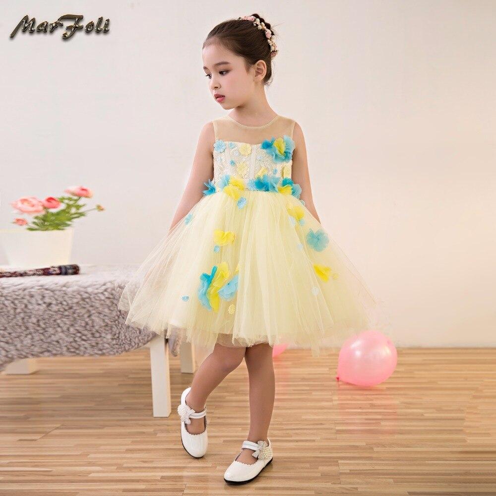 Marfoli yellow Girl Dresses cute dress Pageant Kids A-Line 2017 festival holiday Princess Party Dresses for wedding #ZT110 marfoli fancy blue common dresses big