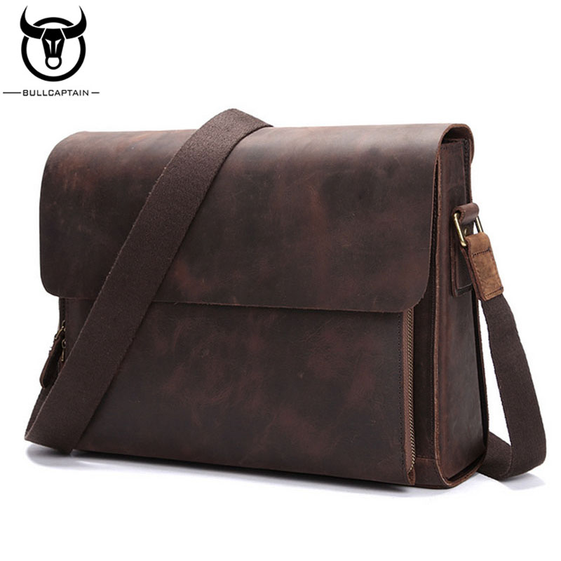 BULLCAPTAIN Men Vintage Crazy Horse Cowhide Cross Body Bag High Quality Briefcase Travel Male Business Messenger Shoulder Bags bullcaptain new men crazy horse cowhide business cross body bag messenger briefcase travel casual shoulder bag leather bag