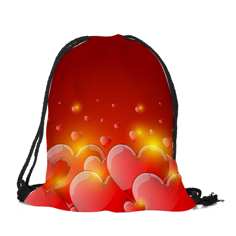 Outdoor Backpack Bags Christmas gift storage bag Valentine's Day Drawstring Bag Sack Sport Gym Travel pouch student bag #2a (6)