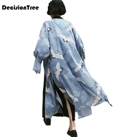 2019 summer japan kimono vintage novelty dragon waves printed chiffon sun cardigan kimono women clothing outerwear
