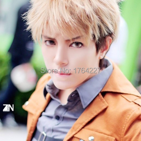 Attack on Titan black yellow ombre natural men Synthetic Hair Jean Kirstein  halloween anime Cosplay Wigs
